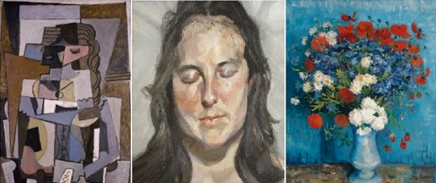 Paintings at Avant-Gardes' show by (l-r) Picasso, Freud, Matisse