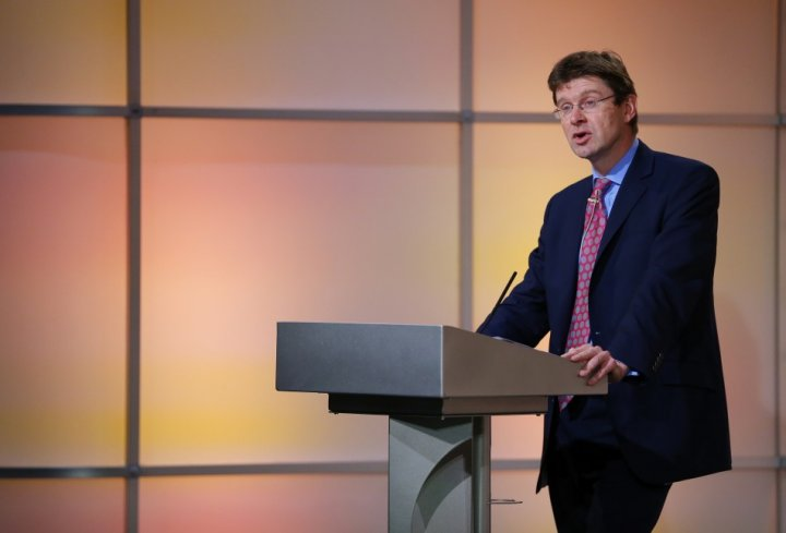 Britain's Financial Secretary to the Treasury Greg Clark speaks at a Thomson Reuters Newsmaker event, in the Canary Wharf business district of east London
