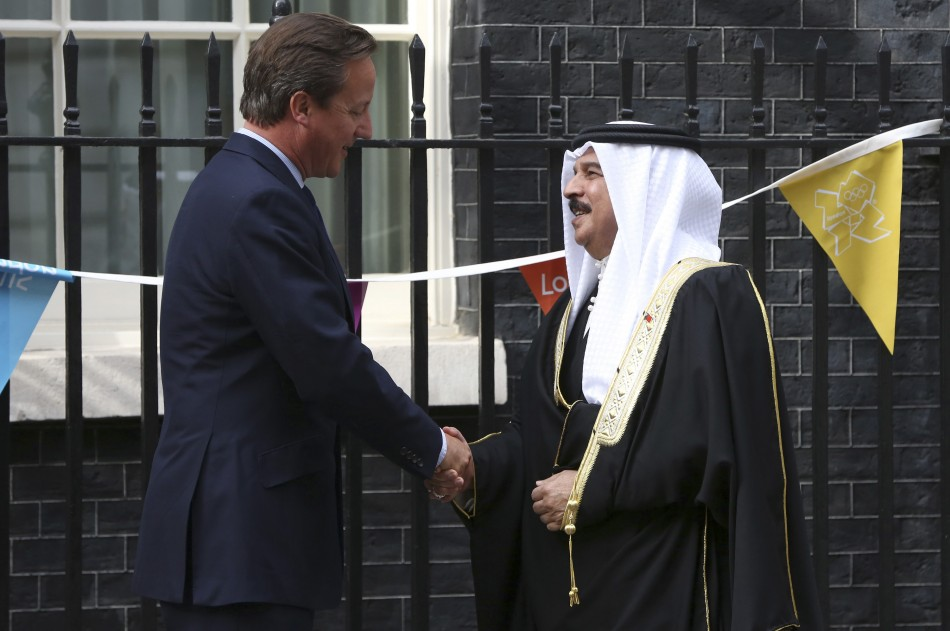 Britain's Prime minister David Cameron greets Bahrain's King Hamad bin Isa al-Khalifa at Number 10 Downing Street
