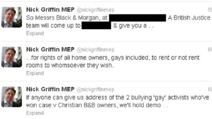 Tweets sent by Nick Griffin