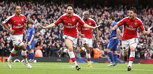 Samir Nasri scores his second goal against Manchester United, November 8, 2008