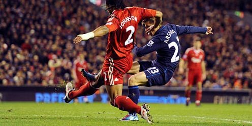 Andrey Arshavin scores his spectacular winner at Anfield, December 14, 2009