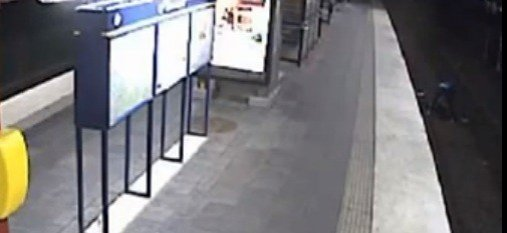 CCTV footage of the incident was broadcast across Sweden. (YouTube)