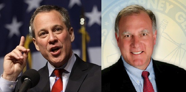 New York attorney-general  Eric Schneiderman and Connecticut attorney-general George Jepsen (Photo: Reuters and http://www.ct.gov)