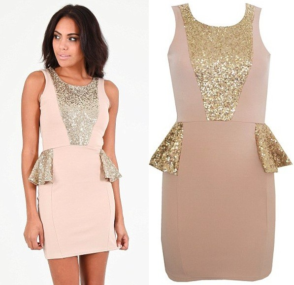 Billie sequin strip peplum dress