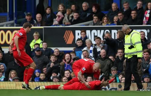 Luis Suarez goal celebration v Everton