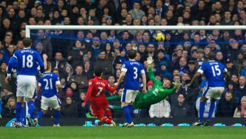 Luis Suarez disallowed goal v Everton
