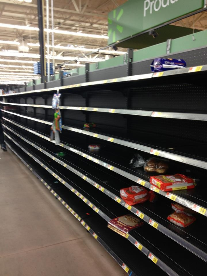 Empty shelves in Walmart, Leominster, MA (Photo: Kim Aveston)