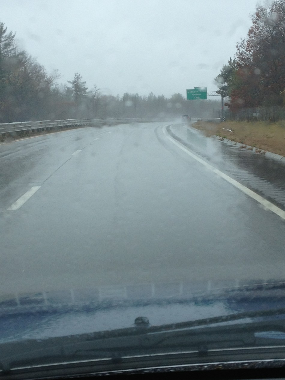 Kim Aveston driving down a deserted Route 2 in MA (Photo: Kim Aveston)