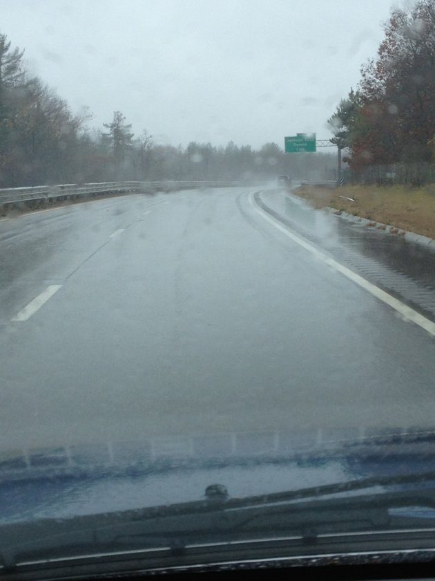 Kim Aveston driving down a deserted Route 2 in MA (Photo: Kim Aveston)