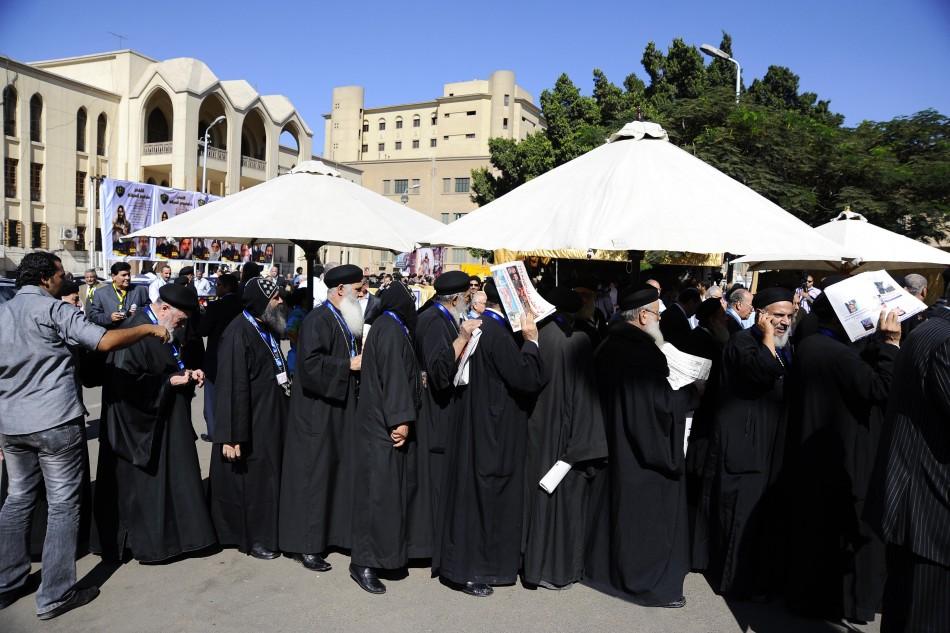 Coptic priests queue to vote