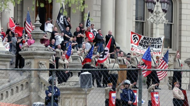 Joseph Hall shot his father Jeff, a regional leader in the National Socialist Movement, when he was 10 (Reuters)