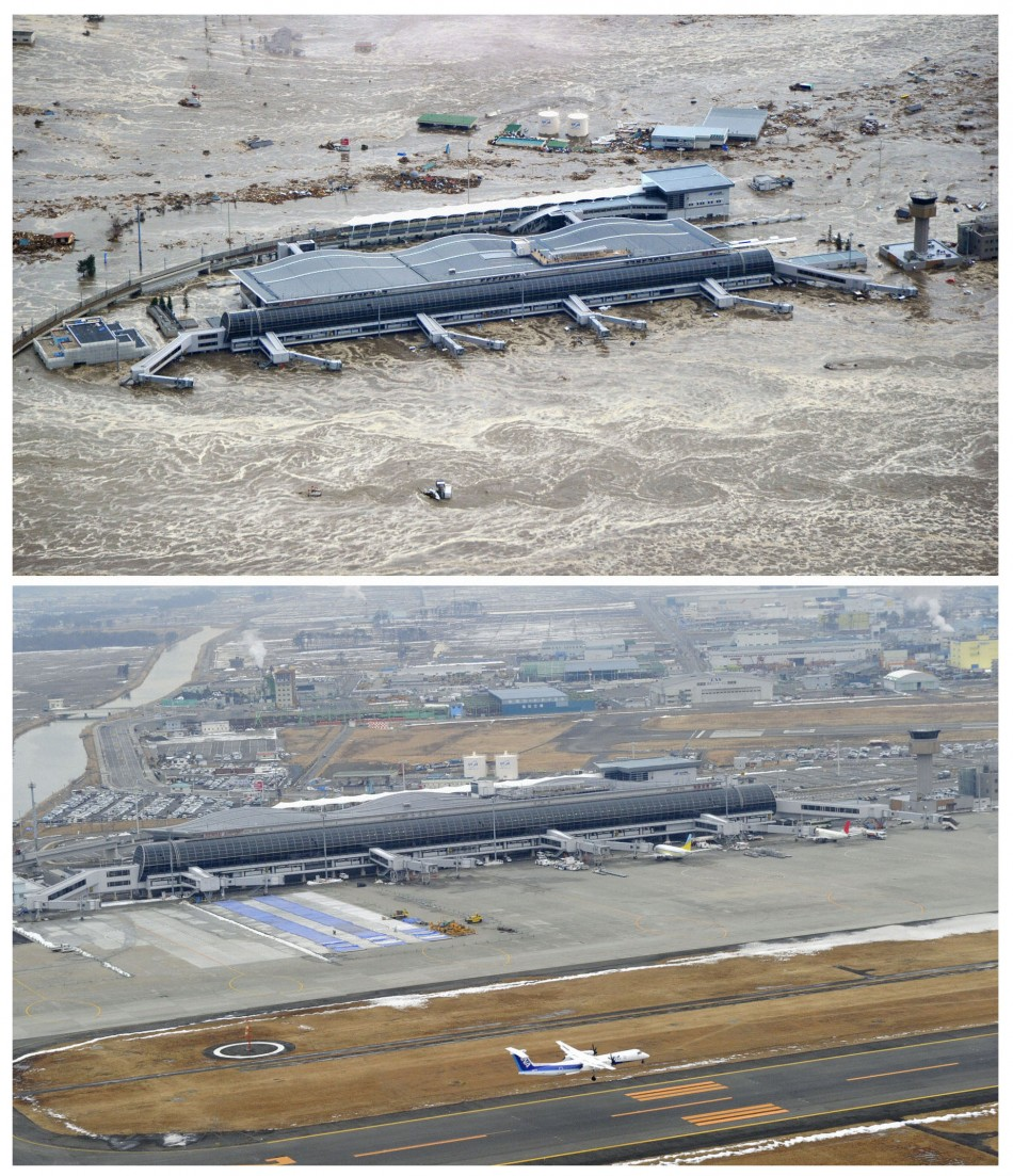 The tsunami-devastated Sendai airport in Miyagi prefecture, is seen in these images taken March 11, 2011 (top) and March 2, 2012, in this combination photo released by Kyodo on March 7, 2012, ahead of the one-year anniversary of the March 11 earthquake and tsunami. An unexploded WWII bomb was found during a restoration work at the airport. (Photo: REUTERS/Kyodo)