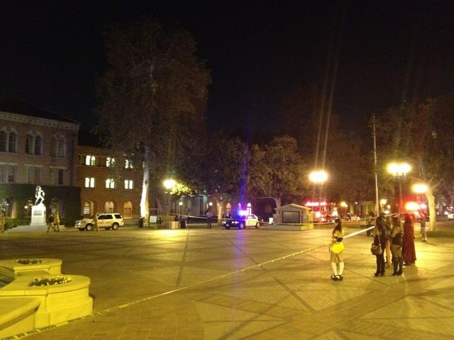 The campus was immediately shut down after the shooting (Twitter/LA Times)