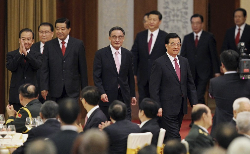 China's President Hu and Premier Wen attend a banquet marking the 63rd anniversary of the founding of the People's Republic of China in Beijing