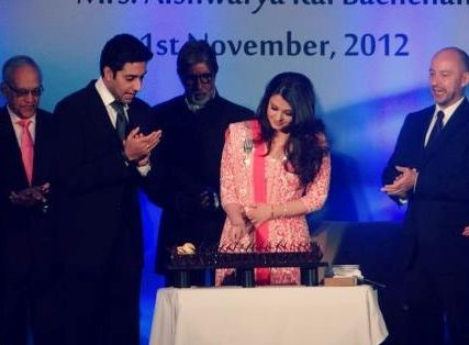 Aishwarya Rai Bachchan cuts her 39th birthday cake on the occasion of receiving French government's recognition. (Photo: AishwaryaAishRaiBachchanOfficial/Facebook)