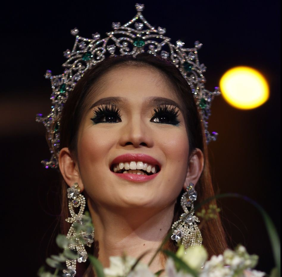 Kevin Balot, a contestant from the Philippines, reacts as being crowned winner at Miss International Queen 2012 transgender/transsexual beauty pageant in Pattaya