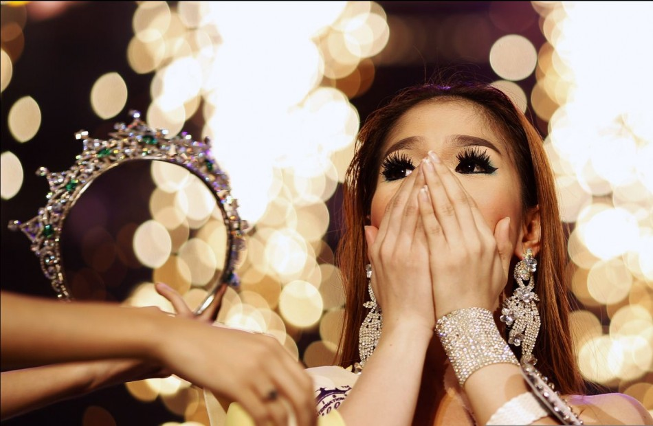 Kevin Balot reacts after being announced winner at the Miss International Queen 2012 transgendertranssexual beauty pageant in Pattaya
