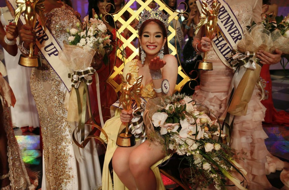 Balot blows kisses after being crowned winner at the Miss International Queen 2012 transgendertranssexual beauty pageant in Pattaya