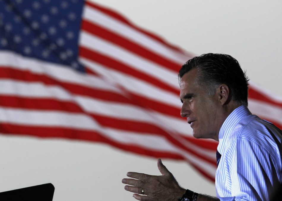 U.S. Republican presidential nominee and former Massachusetts Governor Mitt Romney speaks at a campaign rally in Sanford