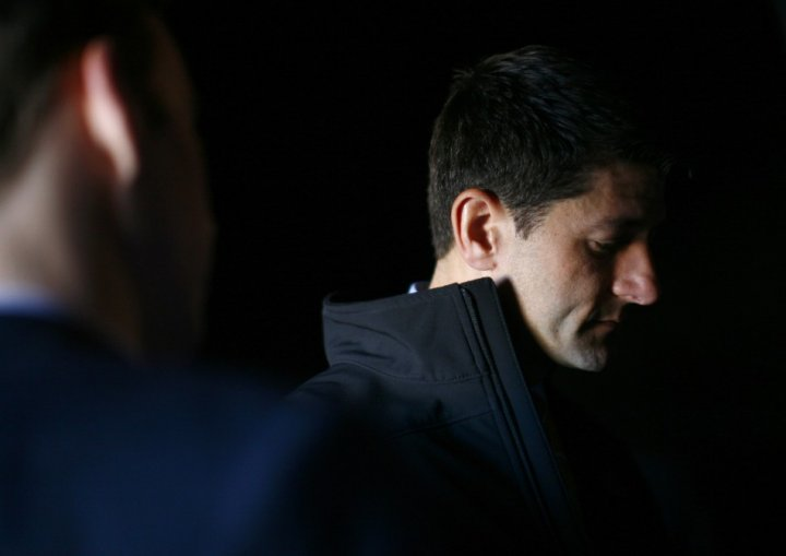 Republican vice presidential candidate Paul Ryan is seen backstage before a campaign event in Reno