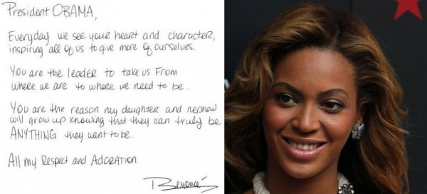 Beyonce Writes Note of Appreciation to President Obama
