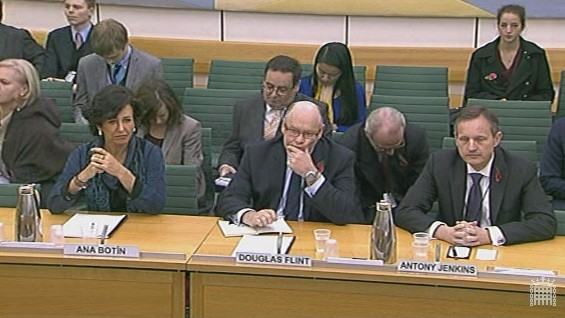 Ana Botin, CEO at Santander UK, Douglas Flint, Chairman at HSBC and Antony Jenkins, CEO at Barclays defend the use of interest rate hedging for SMEs (Photo: Parliament.tv)