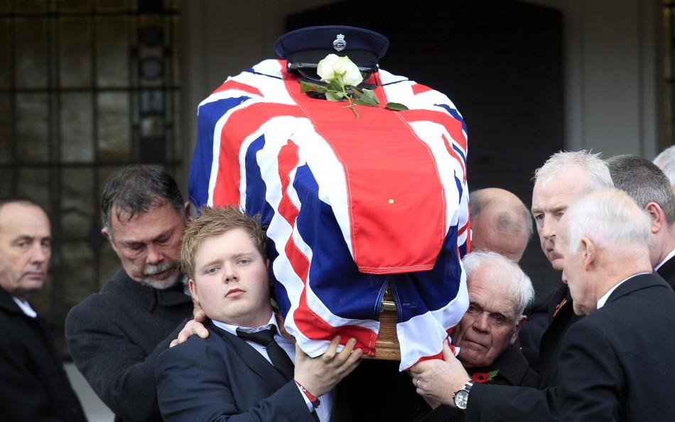 The coffin of David Black is carried from Molesworth Presbyterian Church in Cookstown, Northern Ireland (Reuters)