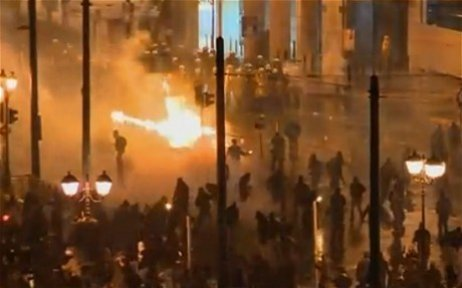 Molotov cocktails were thrown at the police by protestors in Athens (Twitter)
