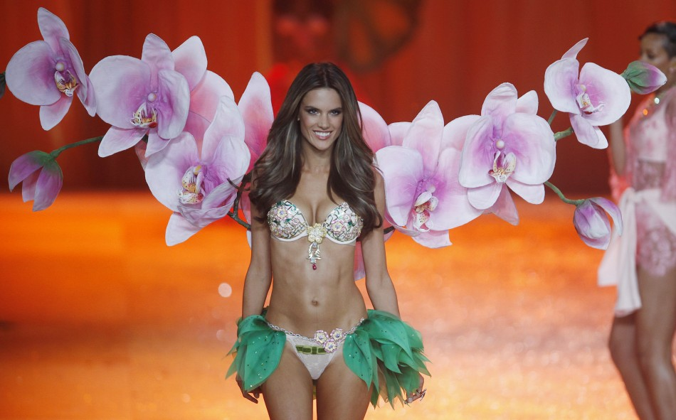 Supermodel Alessandra Ambrosia presents a million dollar bra during the Victorias Secret Fashion Show in New York