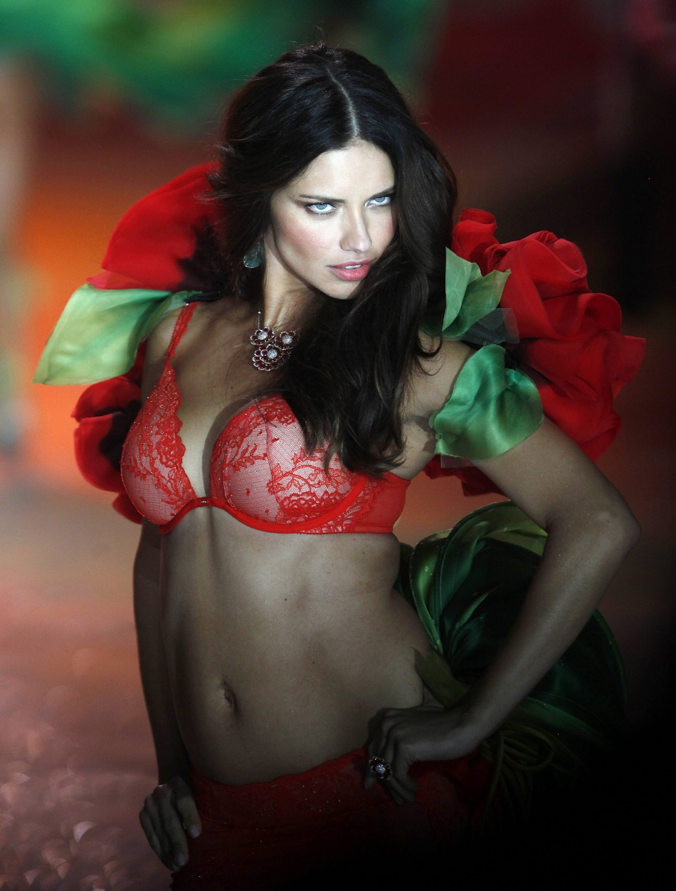 Model Adriana Lima presents a creation during the Victorias Secret Fashion Show in New York