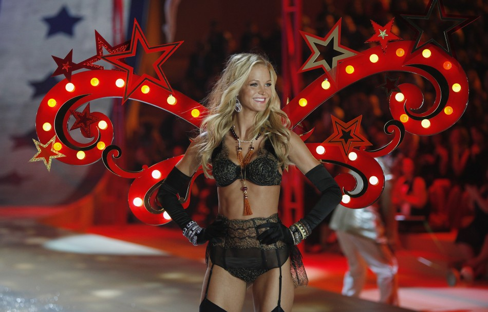 Erin Heatherton presents a creation during the Victorias Secret Fashion Show in New York