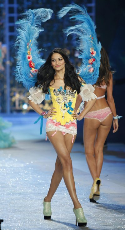 Shanina Shaik presents a creation during the Victorias Secret Fashion Show in New York