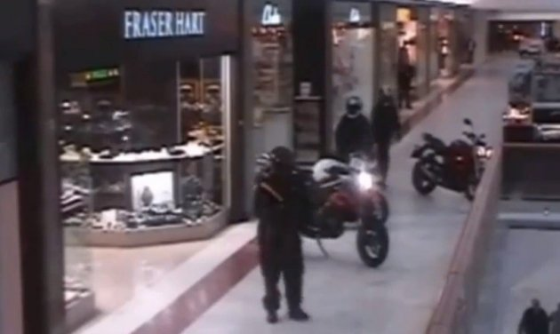 It is understood that six suspects travelling on three motorbikes, rode into the shopping centre via the entrance next to New Look