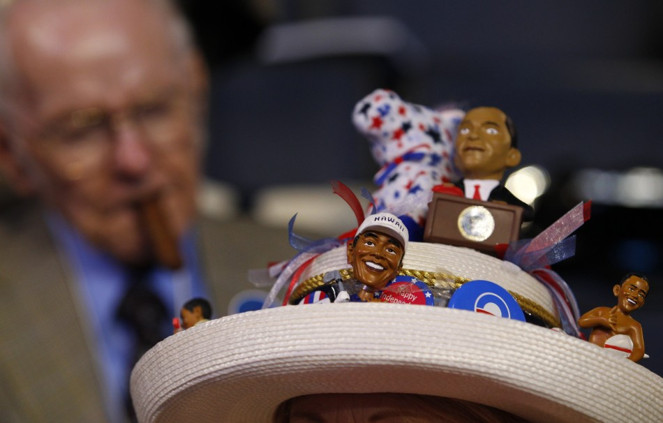 Mississippi delegate wears a har adorned with miniature figures of President Barack Obama