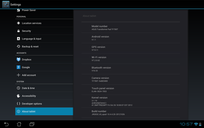 Asus Transformer Pad Infinity TF700T Receives New Firmware Update v10.4.4.20