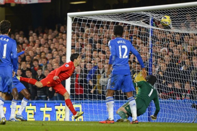 Petr Cech Looks on as Luis Suarez Scores