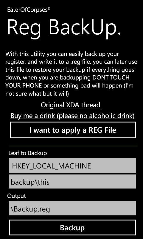 Backup Registry on Windows 7 Phone via Reg Backup App [Guide]
