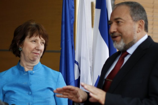 Israel's Foreign Minister Lieberman and European Union foreign policy chief Ashton speak to the media in Jerusalem