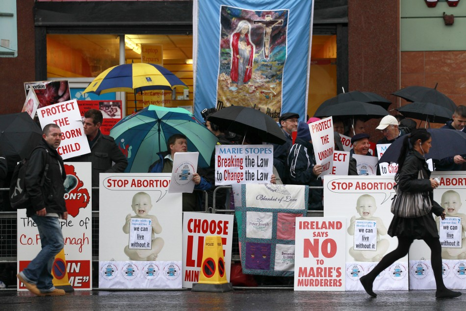 Pro-life campaigners protest outside the Marie Stopes clinic in Belfast October 18, 2012. The first private clinic offering abortions opened in Northern Ireland on Thursday, making access to abortion much easier for women in both Northern Ireland and the