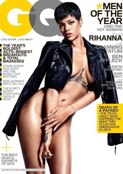 Rihanna naked on the cover of the December 2012 issue of GQ magazine.