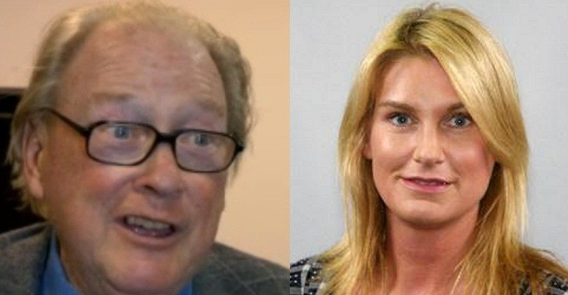 Lord McAlpine (L) and Sally Bercow (BBC/Twitter)