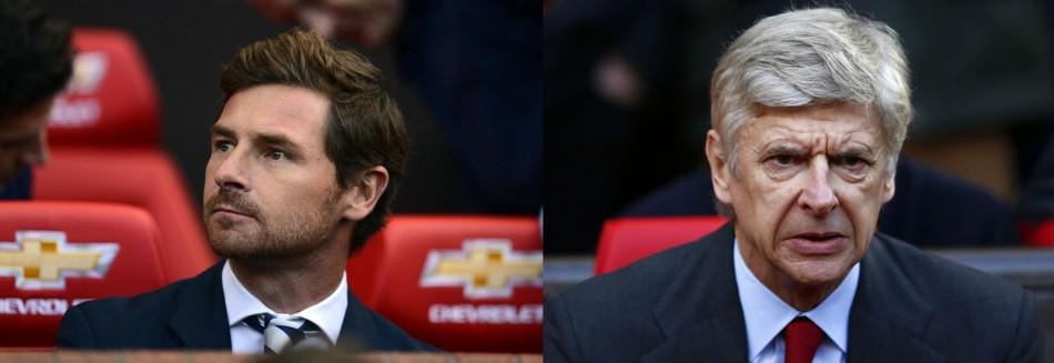 Andre Villas-Boas (L) and Arsene Wenger