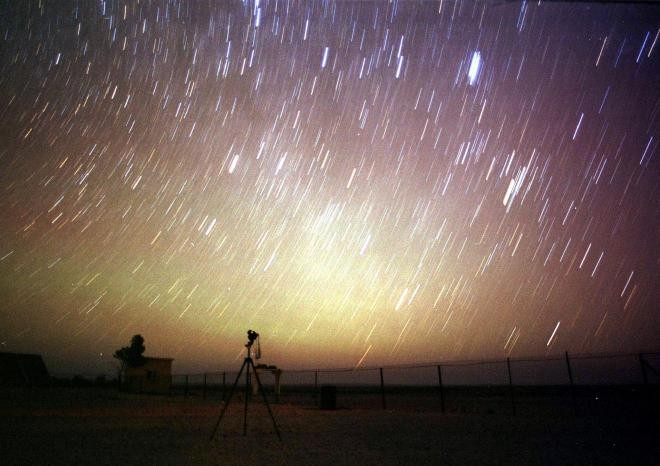 The Leonid Meteor Shower at the desert near Amman, August 12, 2002.
