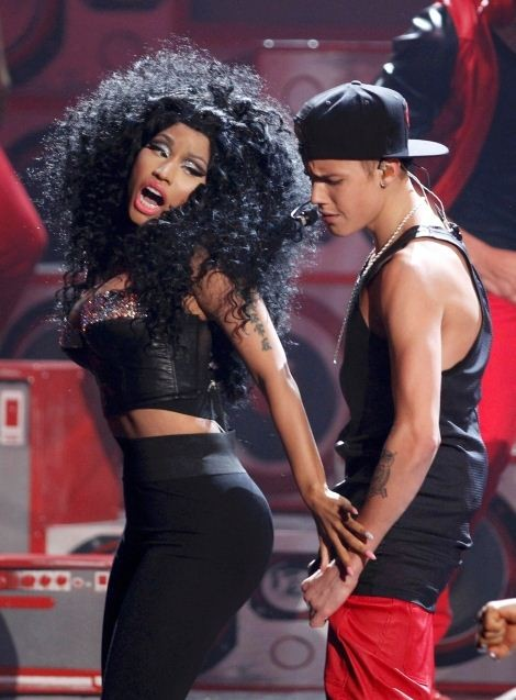 Justin Bieber performs with Nicki Minaj at the 40th American Music Awards in Los Angeles