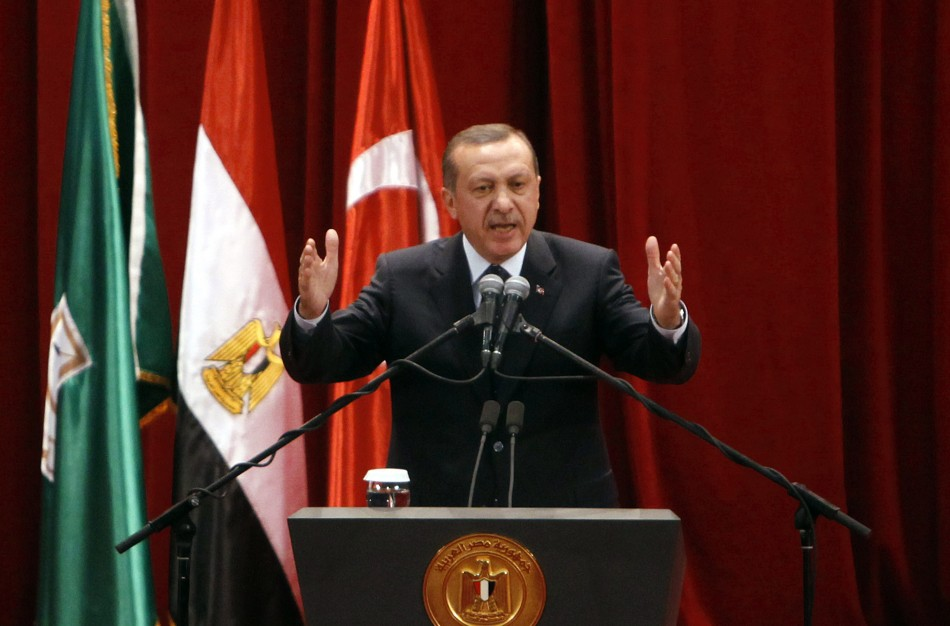 Turkish Prime Minister Erdogan delivers a speech at Cairo University after his meeting with Egyptian President Mursi