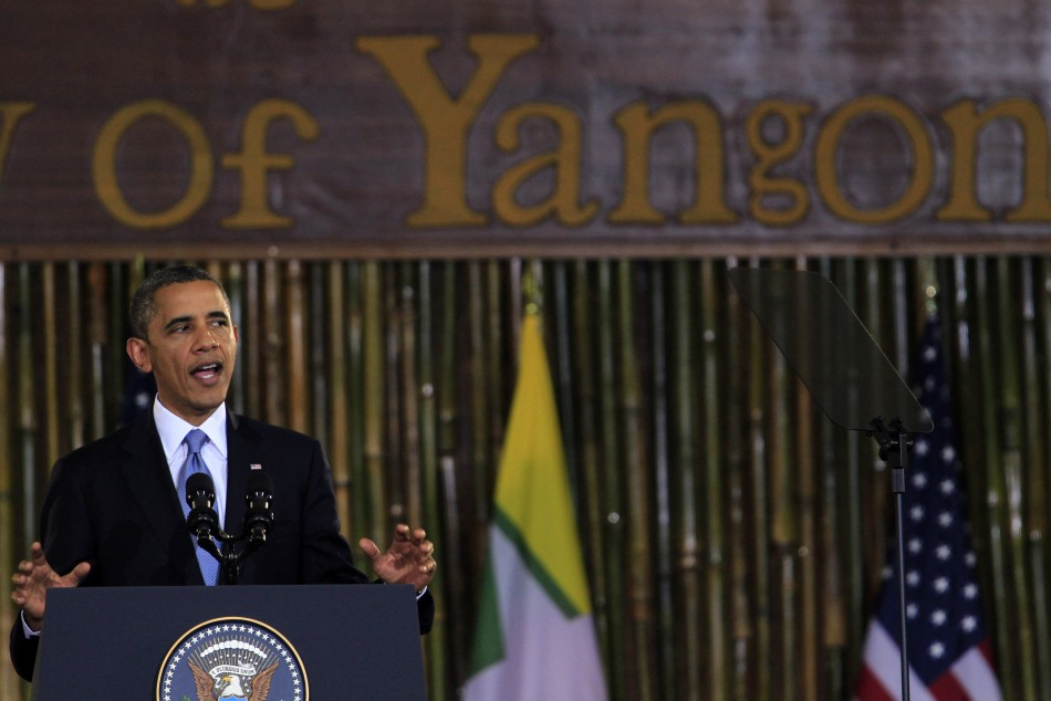 U.S. President Obama gives a speech at the University of Yangon