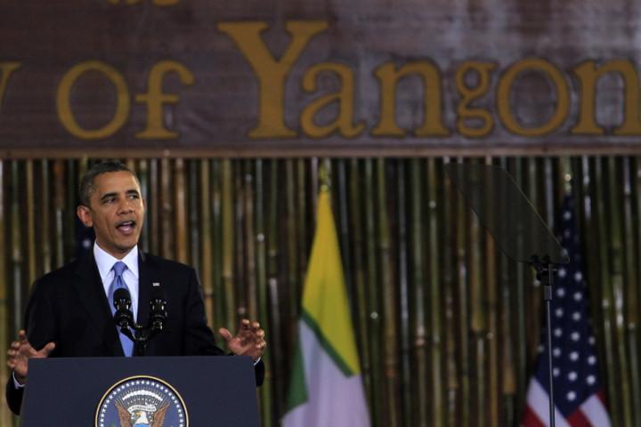 U.S. President Obama gives a speech at the University of Yangon