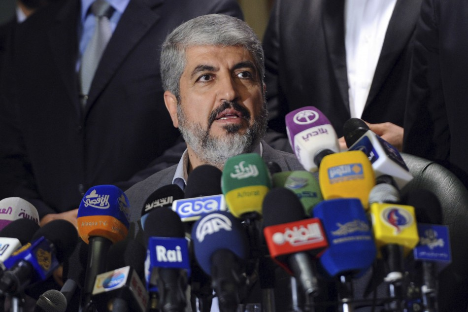 Hamas's leader in exile Meshaal speaks during a news conference in Cairo