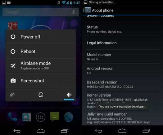 Nexus 4 Gets Android 4.2 Jelly Bean with JellyTime ROM [How to Install]